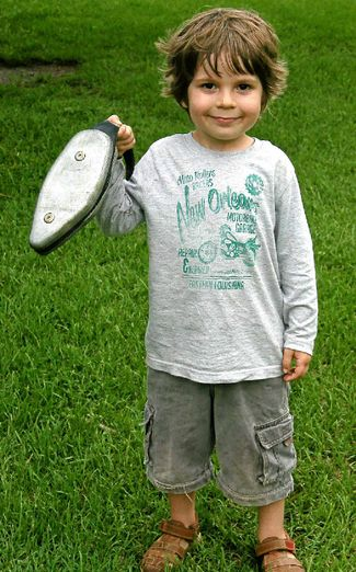 Winner of the Mullet Throwing Under-5s, Yonatan Lev, 4, from Ocean Shores. PHOTO: ALLISON ROGERS
