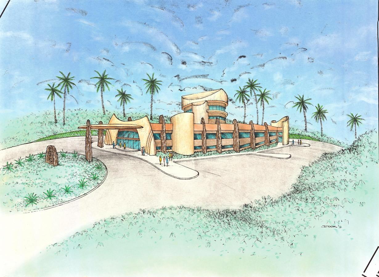 Design concept cultural centre, Round House, Orana road, Ocean Shores