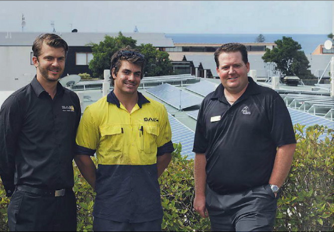 SAE Group electrical engineer Chris Taeni, solar installer Corey Hemming and Country Club manager Andrew Spice took a bird's eye view of the project. Photo Eve Jeffery